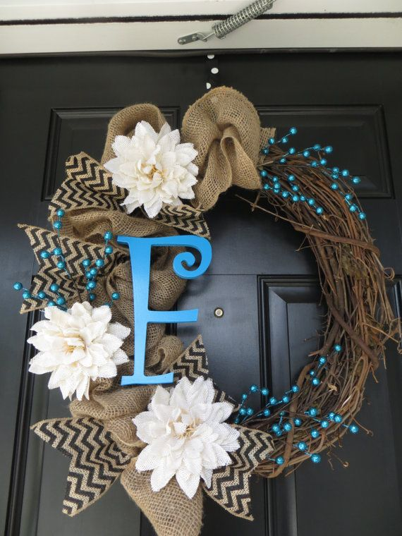 Burlap Wreath with Initial by TwistedandTwizzled on Etsy...love the touch of blue