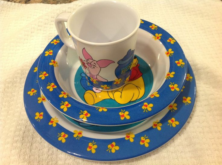 Winnie The Pooh Plate Bowl And Cup From Trudeau Winnie