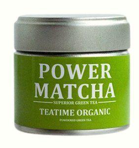 POWER MATCHA - Teatime Organic - Bio Matcha Tee (Premiumqualität) 30g  Grüner Tee, gemahlen ( Aus kontrolliert biologischem Anbau ) 30 g 15x mehr Nährstoffe als regulärer Grüner Tee Bis zu 6 Stunden sanfter Energieschub durch Koffein + L-Theanin Auch für die Zubereitung von Matcha Latte, Cocktails, Smoothies, Müsli, Milchshakes, Cremig und herzhafter Geschmack