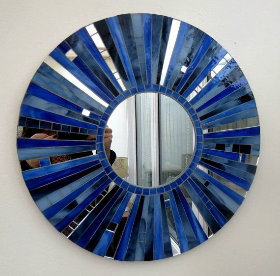 Stained glass Mosaic round Mirror in Blues Greys & by VitruMosaics