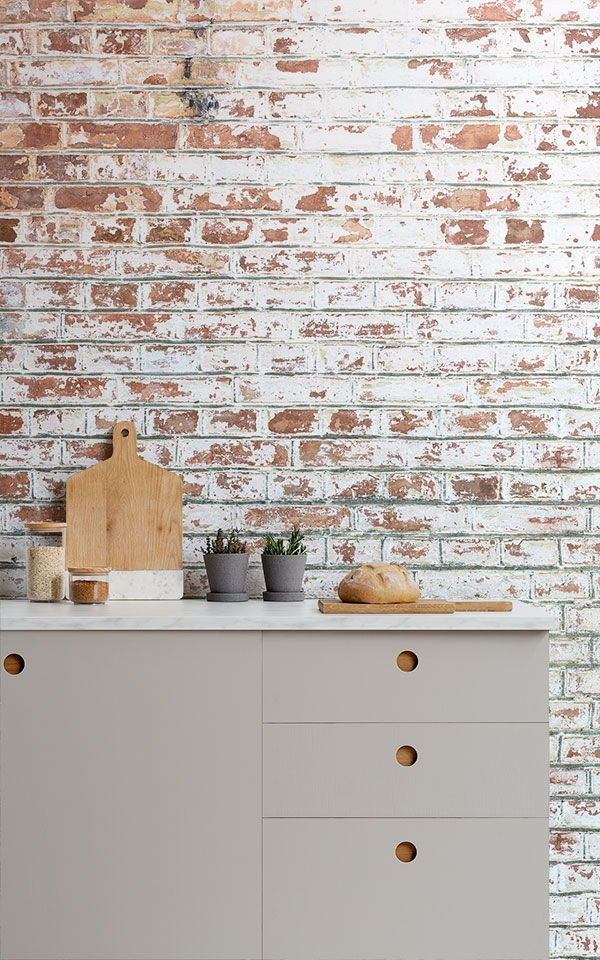 Painted White Brick Wall Mural Industrial Style Muralswallpaper Brick Wallpaper Mural Painted Brick Painted Brick Walls