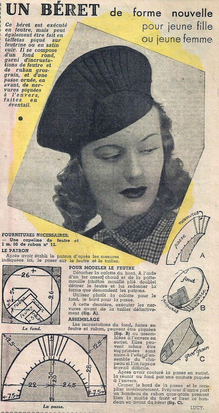 Le Petit Écho de la Mode - 6 octobre 1940 from http://isabellurette.tumblr.com/archive #millinery #judithm #hats