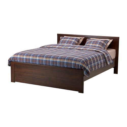 brusali bed frame brown cheap queen - Queen Bed Frames For Cheap