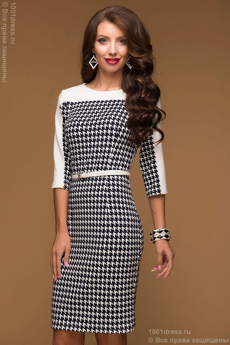 """Купить короткое платье с принтом """"гусиная лапка"""" и белой вставкой в интернет-магазине 1001DRESS"""