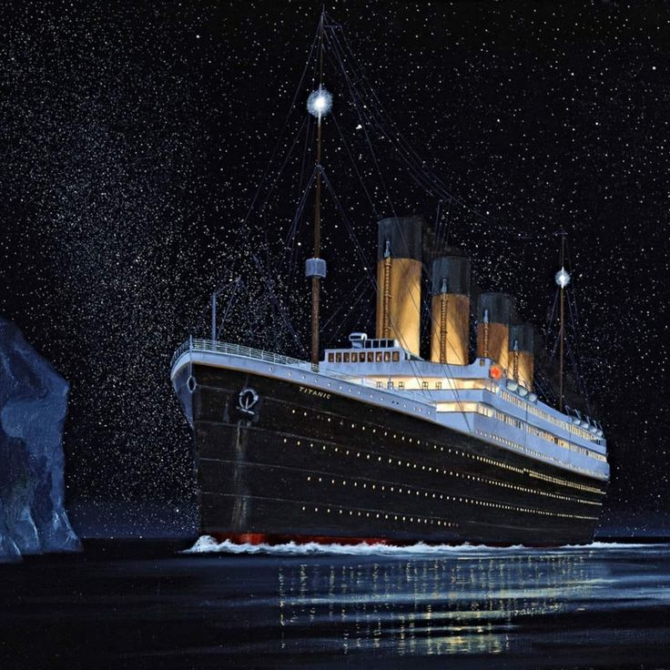 Картинка титаника с айсбергом