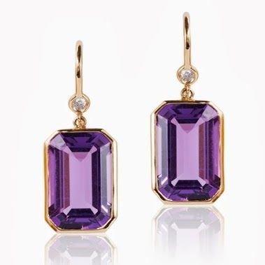 Emerald Cut Amethyst and Diamond Earrings in 18kt Gold-------------For more Information Call Us At: (866) 264-9759 Or Visit: haroldfreemanjewelers.com   www.youtube.com/watch?v=dXT8vy4e8c4 www.facebook.com/HaroldFreemanJewelers