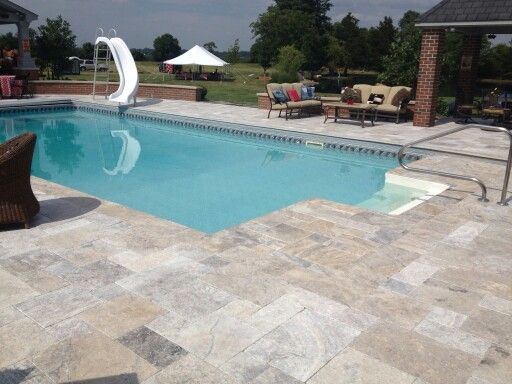 Silver Travertine Patio Overlay My Projects Pinterest