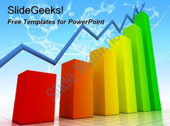 Colorful bar chart graph going upwards with arrow on top rising showing rising trend free powerpoint templates ppt themes presentation backgrounds  Presentation Themes and Graphics Slide01