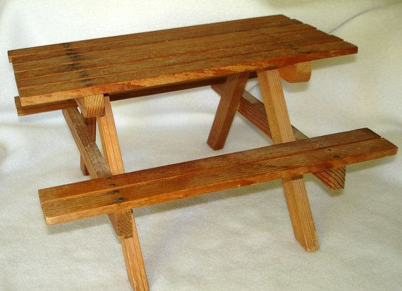 Vintage Wood Picnic Table For Dolls Toy Doll Furniture Size Barbie Size Realistic Picnics