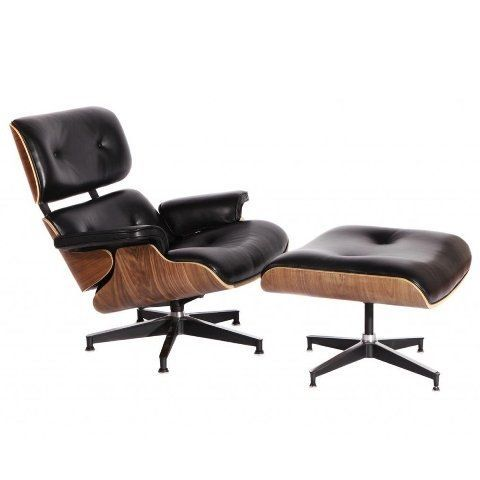 MCM Eames Style Lounge Chair with Ottoman Stool (Black) -