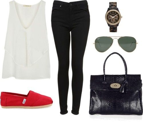 Requested Eleanor inspired outfit for school featuring red TOMS.    Top: Sheinside. Purchase here.    Jeans: Topshop. Purchase here.    Shoes: TOMS. Purchase here.    Bag: Mulberry. Purchase here.    Sunglasses: Ray-Ban. Purchase here.    Watch: Fossil. Purchase here.