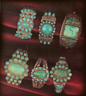 Turquoise and Silver Bracelets.