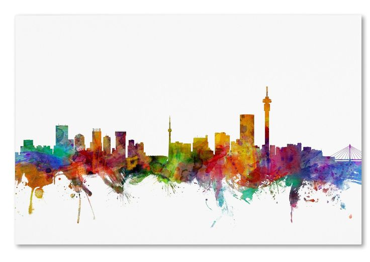 Johannesburg South Africa Skyline by Michael Tompsett Graphic Art on Wrapped Canvas