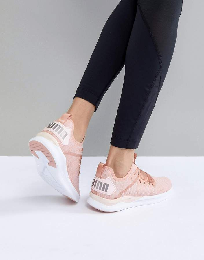 4d10382827c5fd Puma Running Ignite Flash Evoknit Satin Sneakers In Dusky Pink   runningshoes  sponsored