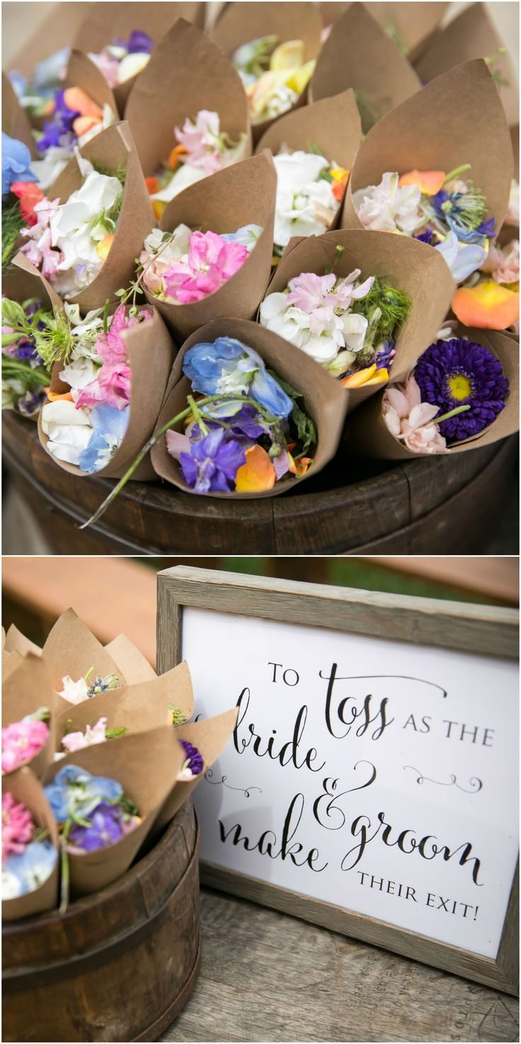Petal toss ceremony exit wedding flowers fun