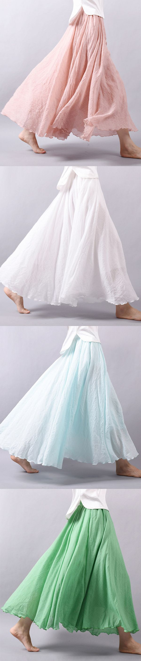 US$20.06 Gracila Women Casual Loose Cotton Pure Color Skirt_Women Vintage Loose Maxi Skirt_Summer Casual Cotton Skirt_Color Summer Maxi Skirt For Women