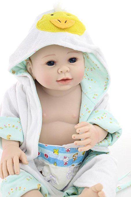Nicery Dura Del Silicone Bambola Reborn Bambino 20inch 50 Centimetri Magnetica Bella Realistica Ragazzo Sveglio Anatra Gir Giocattolo Blu Giallo Baby Doll A3IT