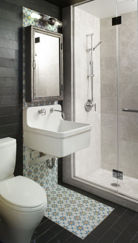 modern bathroom fountain valley reviews%0A Chic bathroom in black and white and colorful accents