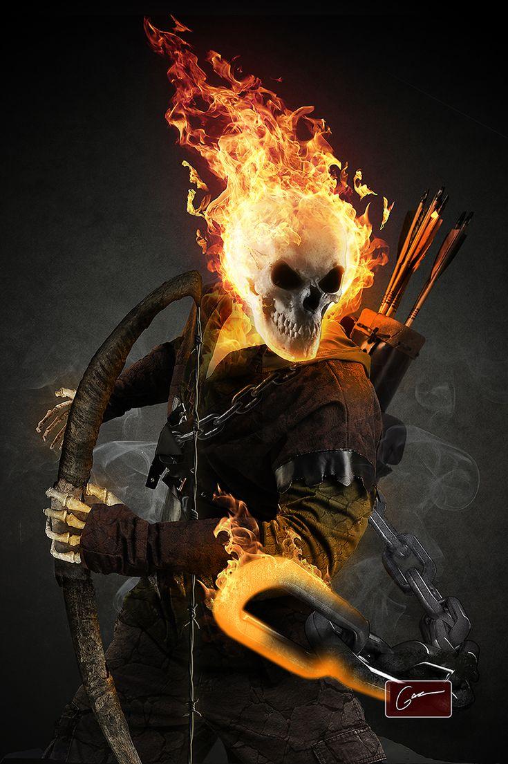 Ghost Rider Digital Art by Kyle Sherrard  |Ghost Rider Digital Painting Photoshop