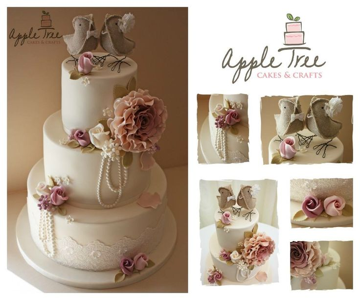 Vintage rose wedding cake with roses in dusky pink and draped pearls for a wedding at Chippenham Park.