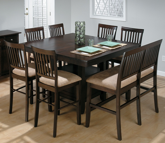 Jofran Bakers Cherry Counter Height Table with 1 Bench and 6 Chairs : square kitchen table with 8 chairs - Cheerinfomania.Com