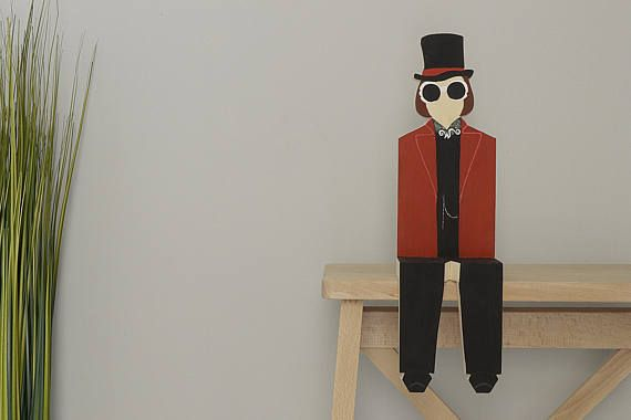 Willy Wonka Charlie and the Chocolate Factory Wooden Figurine Johnny Depp Popular Character Tim Burton Shelf Decor