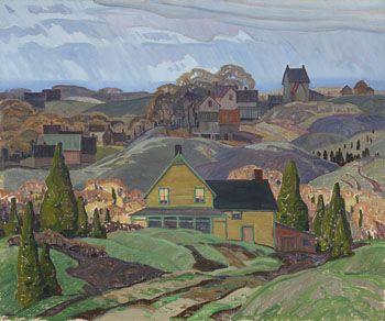Franklin Carmichael - Farmhouses Newton Robinson Ontario 25.25 x 30.25 Oil on canvas