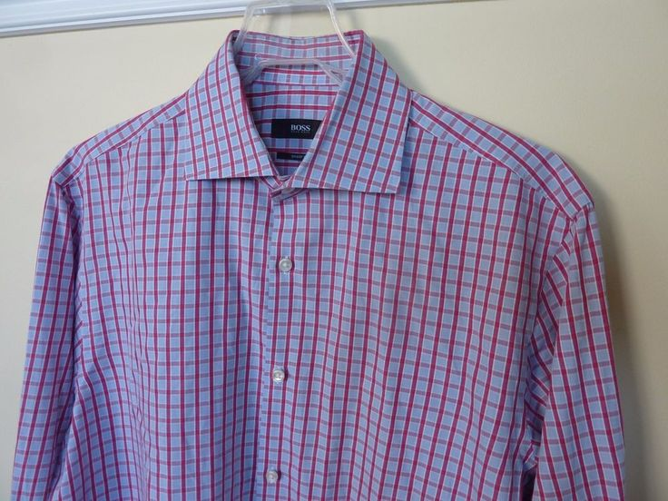 HUGO BOSS SHARP FIT MENS CHECKED SPREAD COLLAR SHIRT~MINT DRYCLEAN~SIZE 16/