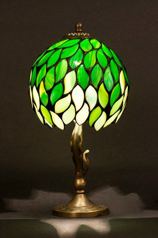 Glasmalerei Tiffany Lampenschirm mit Messing von WPworkshop auf Etsy