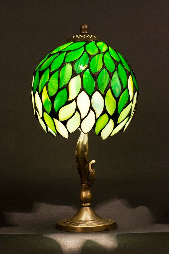 Stained glass Tiffany lampshade with brass base. Bedside lamp. Decorative lamp. Green leaves table small lamp.