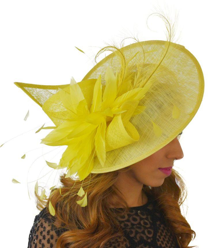 Adonis Yellow Fascinator Hat for Weddings Races by Hatsbycressida