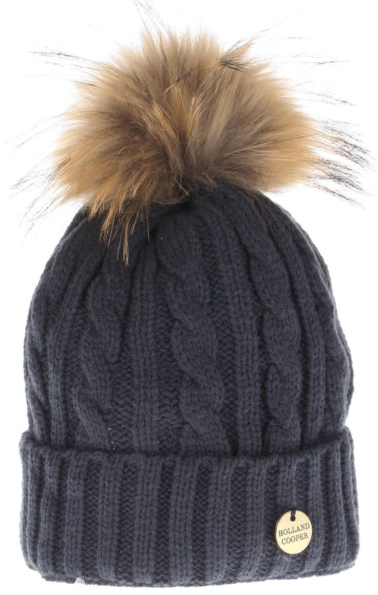 Holland-Cooper-Cable Knit Fur Bobble Hat (Navy)-31