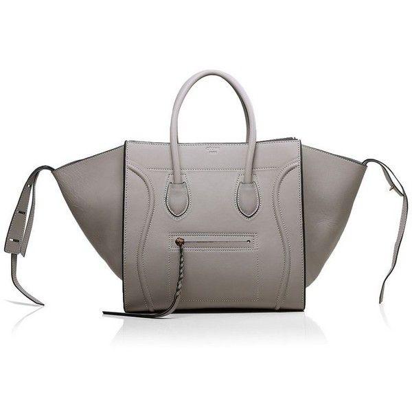 Celine Phantom Bag Boston Luggage Tote Pearl Gray Leather ...