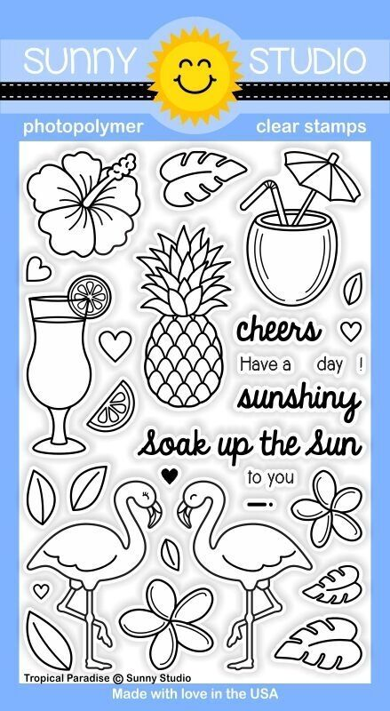 Sunny Studio TROPICAL PARADISE Clear Stamp Set SSCL129 zoom image