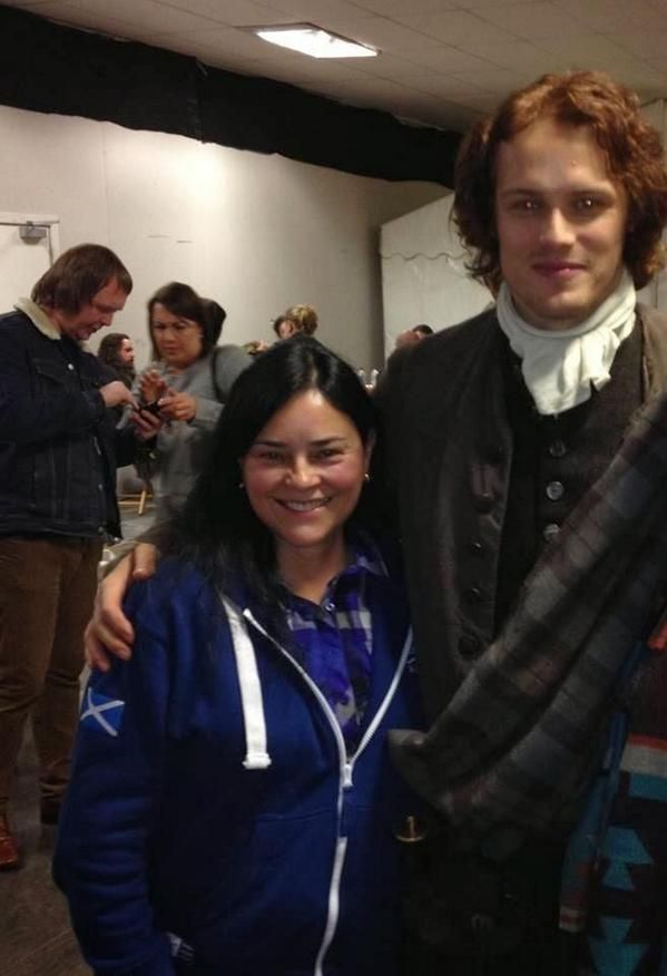 Diana Gabaldon and Sam Heughan as Jamie Fraser ...Dear God how adorable they are - no wonder chemistry and relations on the set works wonderfull :) Aye !
