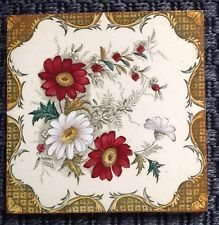 PRETTY VICTORIAN FLORAL TRANSFER TILE GOOD CONDITION 6X6