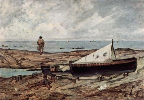 Der graue Tag (Strand mit Fischern und Booten) - Giovanni Fattori