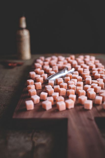 Homemade bitter-flavored sugar cubes for cocktails