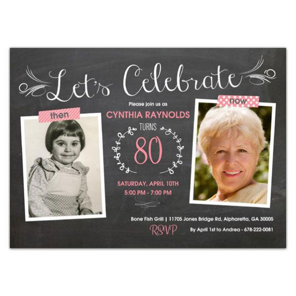 Then And Now Chalkboard Birthday Invitations