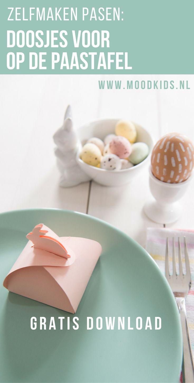 Download en vouw deze doosjes voor Pasen. Leuk om eitjes in te verstoppen en de paastafel met de paasbrunch te versieren.