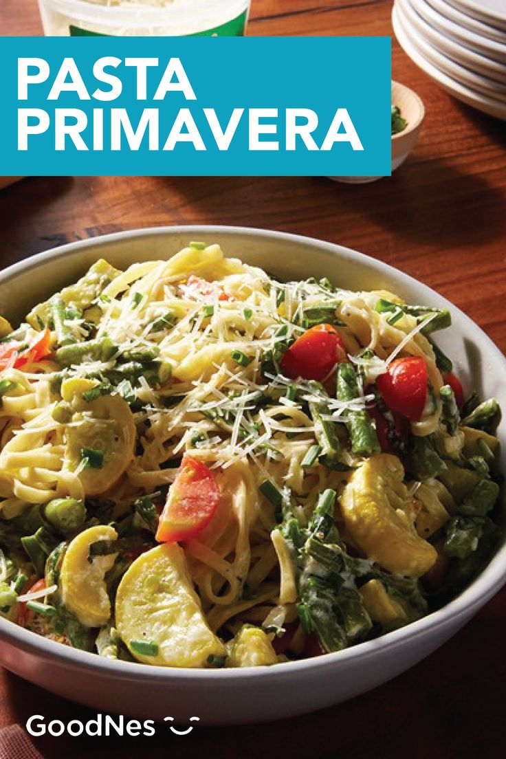 Take advantage of the fresh veggies that summer has to offer with this delicious Pasta Primavera recipe. Buitoni® Refrigerated Linguine and Buitoni® Refrigerated Freshly Shredded Parmesan Cheese pair with yellow squash, cherry tomatoes, asparagus, and green beans to create a cheesy dinner recipe that makes eating your veggies feel fun.