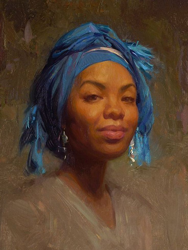 """Andrea in Blue Scarf"" - Scott Burdick (b.1967), oil on canvas, 2007 {figurative #impressionist art beautiful female head african-american black woman face portrait cropped painting #loveart} <3 scottburdick.com"