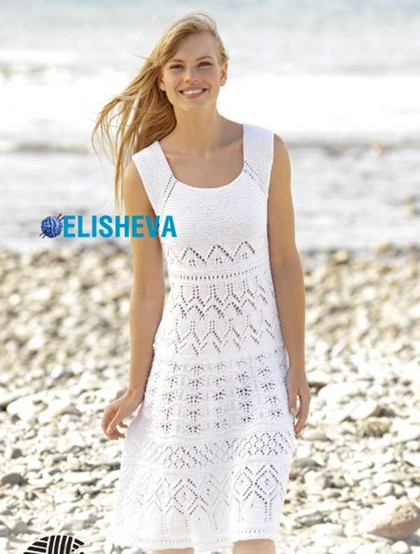 Вязаное спицами летнее платье Mallorca Drops Design. Описание от S до XXXL