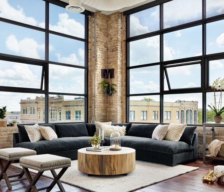 Modern Loft Apartment Livingroom design (https://www.zinhome.com/grant-modern-charcoal-grey-armless-corner-sectional/)