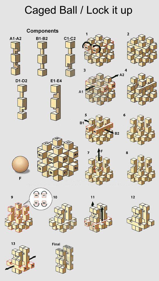 4 Metal Puzzle Solution Brain Teaser (Quebra cabeca de pregos ...