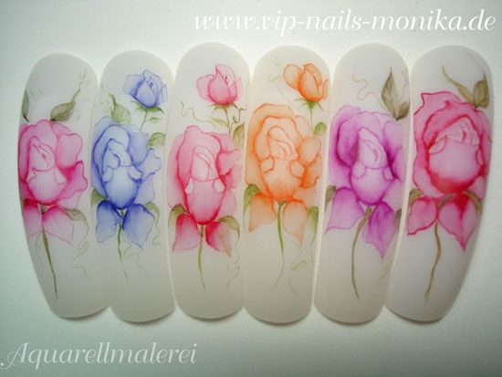 Aquarell Roses by vipnailsmonika - Nail Art Gallery nailartgallery.nailsmag.com by Nails Magazine www.nailsmag.com #nailart