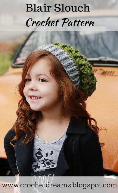 Slouch Hat Crochet Pattern, Textured Hat Crochet Pattern