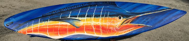Sunset Marlin painting on full size Surfboard. For Sale: $495
