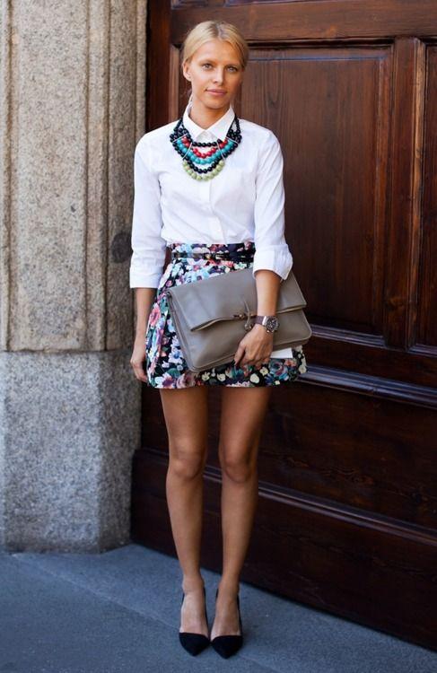 florals, huge clutch, statement necklace, crisp button-down.