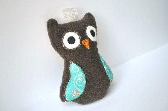 Baby Owl Rattle  Handmade Owl  Stuffed Owl Toy  by BirdieAndDot, $12.00